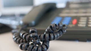 telephone cord of an office telephone