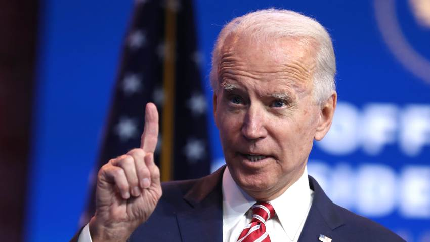 U.S. President-elect Joe Biden delivers remarks about the U.S. economy during a press briefing at the Queen Theater on November 16, 2020 in Wilmington, Delaware.