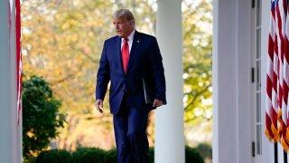 President Donald Trump arrives to speak in the Rose Garden of the White House