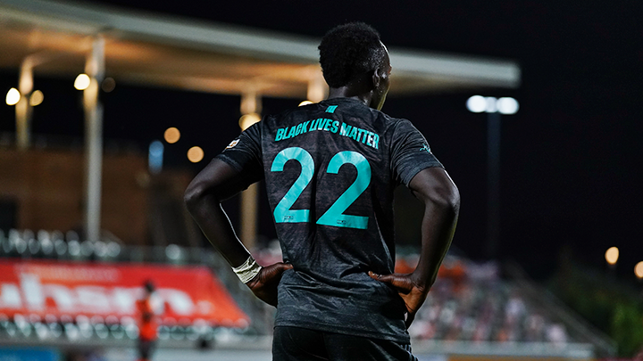San Diego Loyal SC forward Francis Atuahene sports a Black Lives Matter jersey the team wore in support of the movement. The game-worn jerseys are now available through a raffle and proceeds will be donated to to the Association of African American Educators' San Diego County branch.