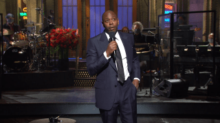 """Comedian Dave Chappelle kicks off """"Saturday Night Live"""" with an opening monologue as host, November 7, 2020."""