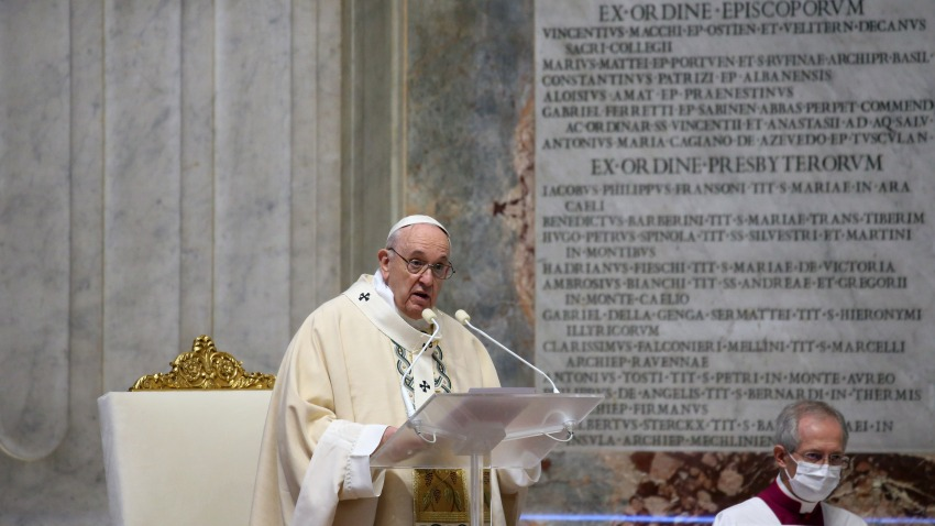Pope Francis celebrates Holy Mass at the Altar of the Chair of the Vatican Basilica, on the occasion of the solemnity of Our Lord Jesus Christ, King of the Universe. Vatican City (Vatican), November 22nd, 2020