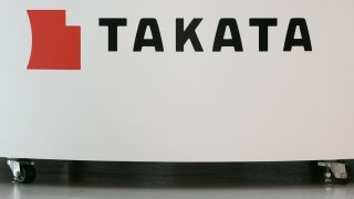 TOKYO, JAPAN - JUNE 26: A Takata Corp. logo is seen on display at a car showroom on June 26, 2017 in Tokyo, Japan. Japanese air bag maker Takata Corp. has filed for bankruptcy protection in Tokyo and the U.S. on June 26, 2017, overwhelmed by the outcome following its production of faulty air bag inflators that are linked to the death of more than 180 people globally. The company announced most of its assets will be bought by the Detroit rival, Key Safety Systems for about $1.6 billion (175 billion yen).