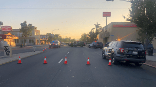 San Diego police respond to the scene of a pedestrian crash in Rolando on Wednesday, Nov. 4, 2020.