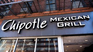 In this Feb. 22, 2020, file photo, fast casual restaurant Chipotle Mexican Grill logo.