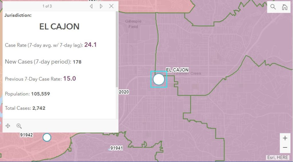 A snapshot of a map showing the case rate in El Cajon as of Nov. 12.