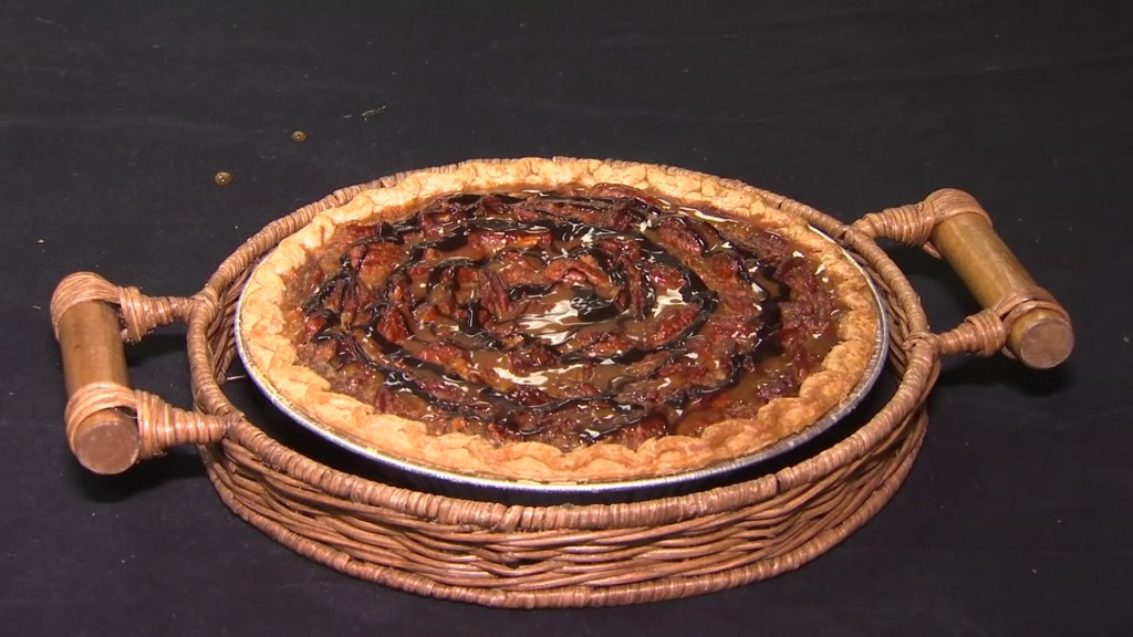 A pecan pie made by volunteers from Mama's Kitchen. This is one of the four flavors of pie available for purchase.