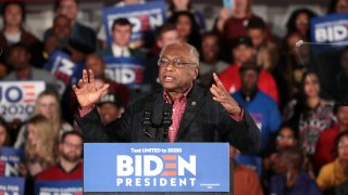 Rep. Jim Clyburn (D-SC) speaks at democratic presidential candidate former Vice President Joe Biden's primary night event at the University of South Carolina on February 29, 2020 in Columbia, South Carolina.