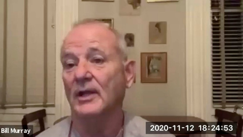 """In this Nov. 12, 2020 image taken from video, actor Bill Murray takes part in a virtual production of """"Poetry for the Pandemic."""" Murray is set to play Job in a biblical reading designed to spark meaningful conversations across spiritual and political divides."""