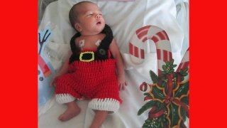One of the babies at UC San Diego Health's Jacobs Medical Center dressed up for the holidays
