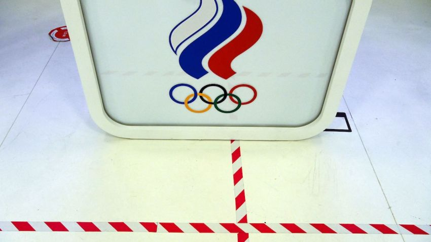 A picture shows the logo of the Russian Olympic Committee