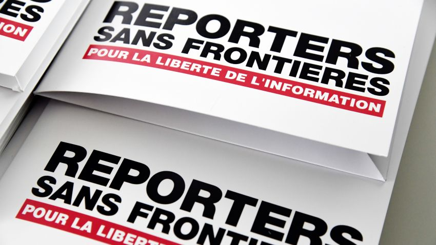 Press releases are pictured on April 25, 2018 in Paris during a press conference of Reporters Without Borders (RSF)