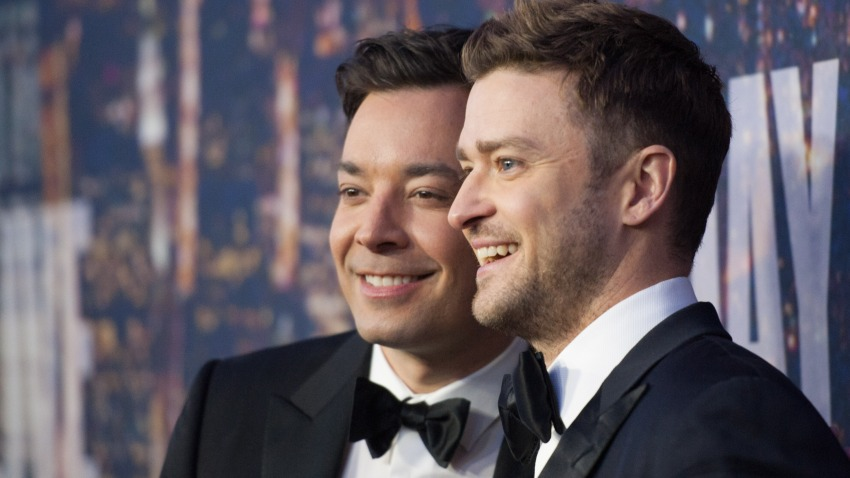 """In this Feb. 15, 2015, file photo, Jimmy Fallon (L) and Justin Timberlake attend the """"SNL 40th Anniversary Celebration"""" at Rockefeller Plaza in New York City."""