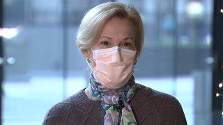 White House Coronavirus Coordinator, Dr. Deborah Birx, wears a face mask while speaking.