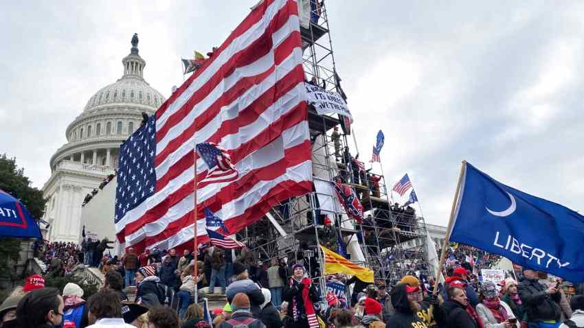 In this Jan. 6, 2021, file photo, supporters of Donald Trump gather outside the Capitol building in Washington D.C.