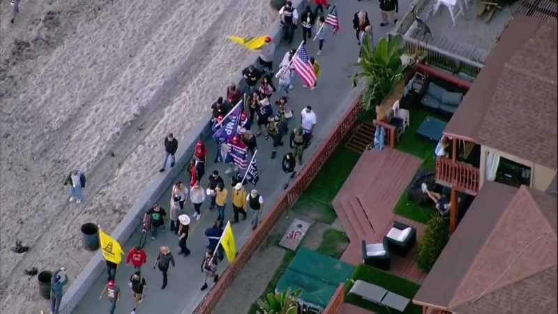 Aerial Images: Droves of Pro-Trump Supporters, Counter-Protesters Flock to Pacific Beach