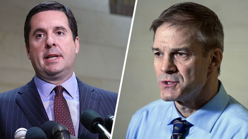 California Rep. Devin Nunes, left, and Ohio Rep. Jim Jordan