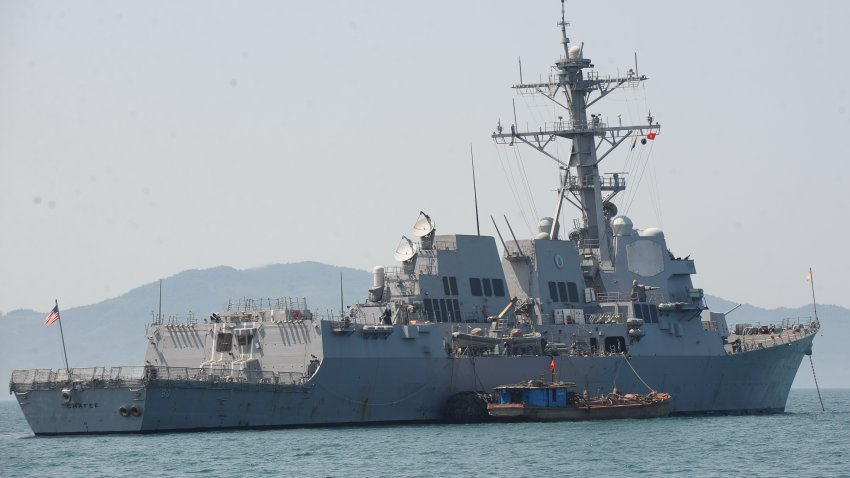The guided missile destroyer USS Chafee