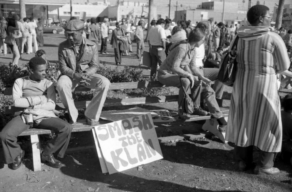 An undated image of an anti-KKK demonstration in San Diego.