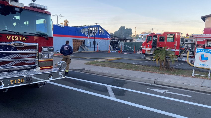 Fire in Auto Shop in Vista