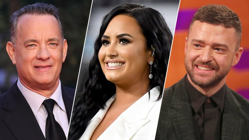 Tom Hanks, left, is slated to host President-elect Joe Biden's inauguration television special, with Demi Lovato, center, and Justin Timberlake expected to perform.