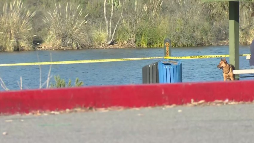 Caution tape blocks off access to a portion of Lake Murray after authorities recovered the body of a woman from the water on Sunday, Feb. 7, 2021.