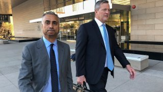 In this Nov. 22, 2019 file photo, Imaad Zuberi, left, leaves the federal courthouse with his attorney Thomas O'Brien, right, in Los Angeles. Federal prosecutors on Tuesday, Jan. 7, 2020, charged Zuberi, a major donor to President Donald Trump's Inaugural Committee, with obstructing a federal investigation into whether foreign nationals unlawfully contributed to the inaugural celebrations.