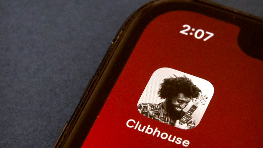 The icon for the social media app Clubhouse is seen on a smartphone screen
