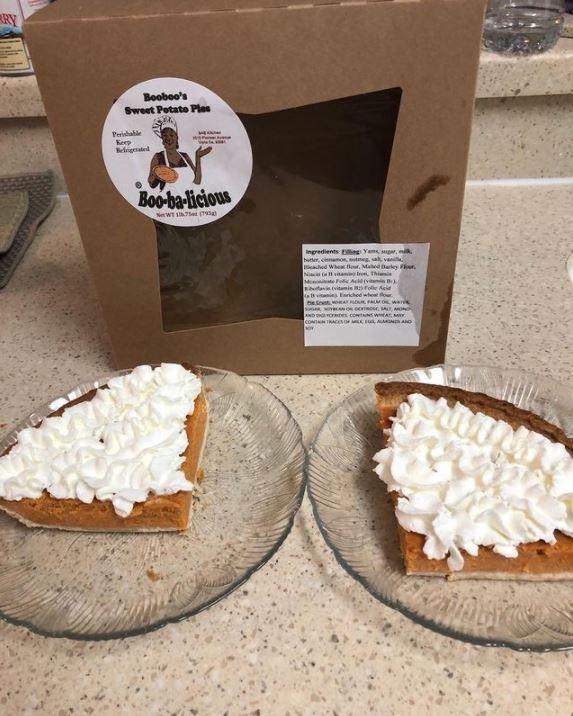 Cynthia Crain's signature sweet potato pie topped with whipped cream.