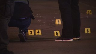 Evidence markers at a shooting in Lemon Grove