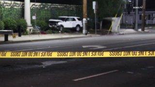 Crash scene with police tape