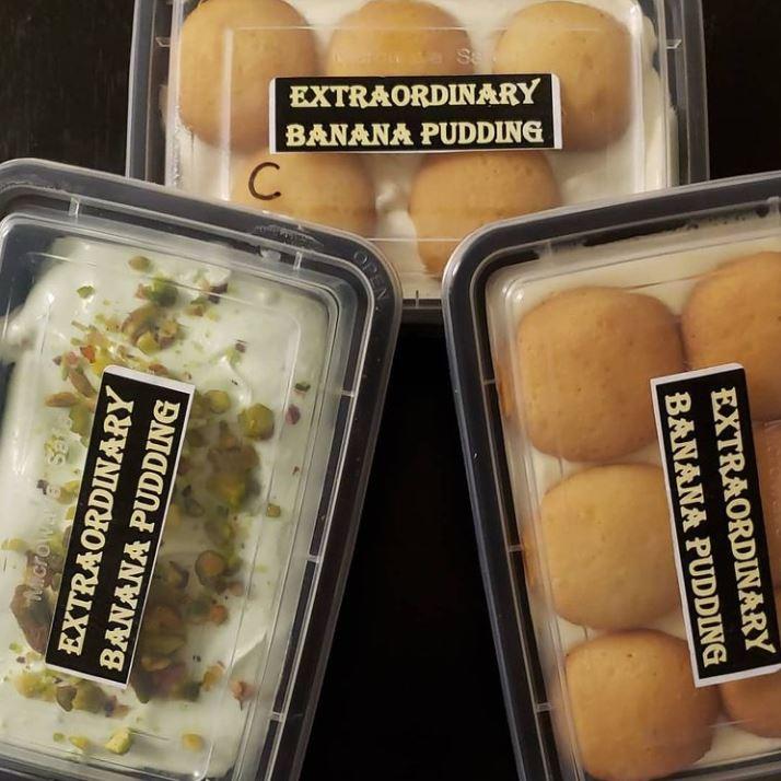 Extraordinary Banana Pudding's pistachio pudding and classic banana puddings.