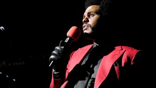 The Weeknd performs at Edge at Hudson Yards for the 2020 MTV Video Music Awards, broadcast Aug. 30, 2020 in New York City.