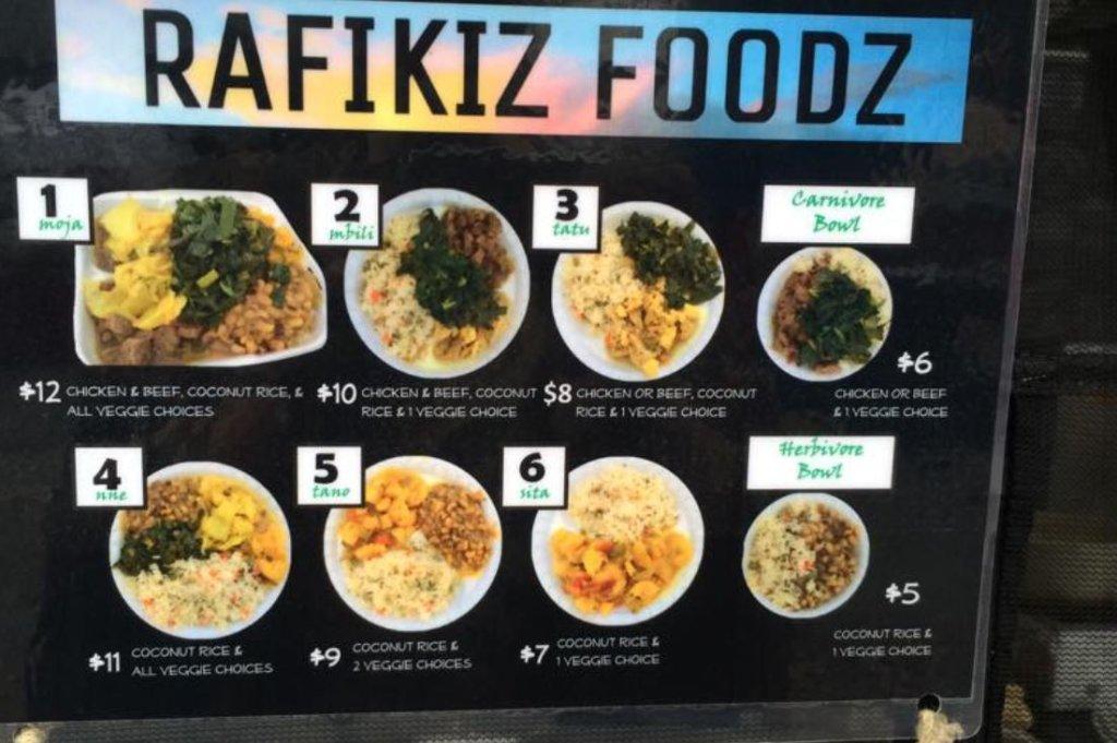 A look at Rafikiz Foodz's menu.