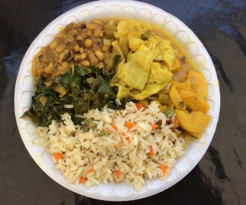 A plate containing Rafikiz Foodz's veggie choices.