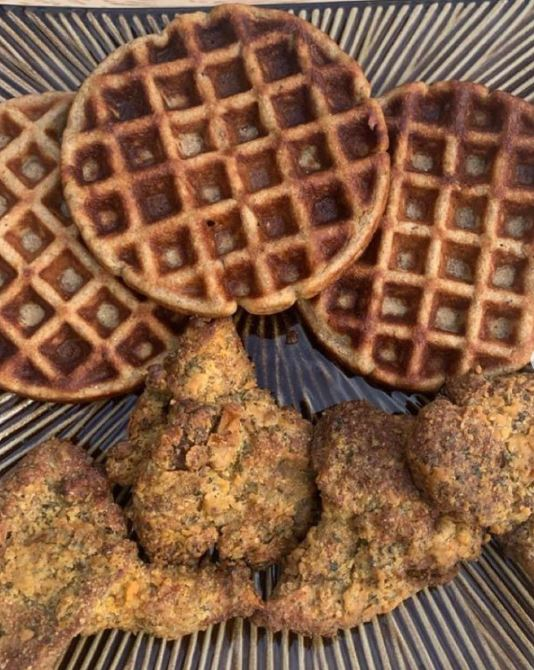 The Vegan Lion's mini wings and waffles.