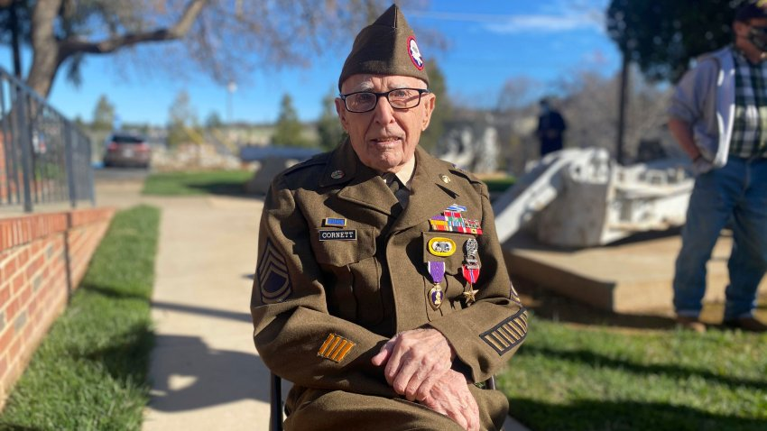 In this Feb. 22, 2021 photo, Sgt. 1st Class Marvin D. Cornett poses for a photo, in in Auburn, Calif. Cornett was awarded the Purple Heart and Bronze Star Medal during a ceremony. Cornett was assigned to Headquarters Company, 1st Battalion, 504th Parachute Infantry Regiment, 82nd Abn. Div. when he made the combat jump into Salerno, Italy and was later wounded during combat operations along the Mussolini Canal at the Anzio beachhead on Dec. 31, 1944.