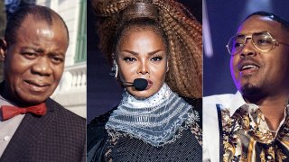 Jazz musician Louis Armstrong appears in Rome in 1968, from left, Janet Jackson performs at the Essence Festival in New Orleans on July 8, 2018, and Nas performs at the Essence Festival in New Orleans on July 6, 2019.