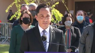 San Diego Mayor Todd Gloria speaks from the Municipal Gym at Balboa Park on Thursday, March 18, 2021 in celebration of his first 100 days in office.
