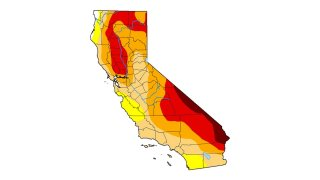 A US Drought Monitor map shows conditions in California in late march 2021.