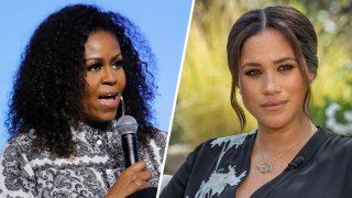 Former first lady Michelle Obama weighed in on the bombshell interview Meghan, Duchess of Sussex (right), and her husband Prince Harry did with Oprah Winfrey. The couple dropped several allegations during the interview, including allegations of racism against their son, Archie.