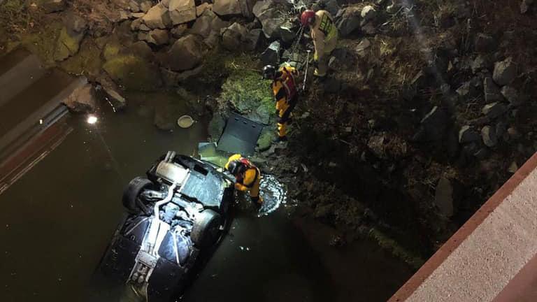 Rescue after crash off of I-5