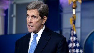 In this Jan. 27, 2021, file photo, John Kerry, special presidential envoy for climate, speaks during a news conference in the James S. Brady Press Briefing Room at the White House in Washington, D.C.