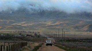 Threatening clouds are seen at sunrise on Tejon Ranch near Gorman, Calif.