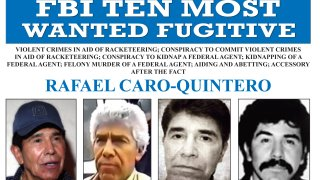 """This image released by the FBI shows the wanted poster for Rafael Caro Quintero, who tortured and murdered U.S. Drug Enforcement Administration agent Enrique """"Kiki"""" Camarena in 1985. On Wednesday, April 7, 2021, Mexican President Andres Manuel Lopez Obrador has defended the 2013 ruling that freed Caro Quintero, even though Mexico's Supreme Court later ruled it was a mistake."""