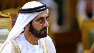 FILE - In this file photo dated Tuesday, Dec. 10, 2019, Prime Minister of the United Arab Emirates Sheikh Sheikh Mohammed bin Rashid Al Maktoum attends the 40th Gulf Cooperation Council Summit in Riyadh, Saudi Arabia. Godolphin founder Sheikh Mohammed bin Rashid Al Maktoum has been chasing a Derby victory for decades. He is 0-for-11 in the race, but has the early favorite in undefeated Essential Quality.
