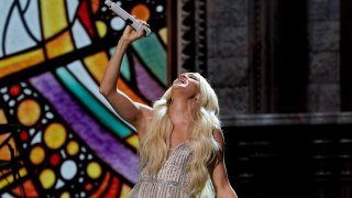 Carrie Underwood performs at the 56th annual Academy of Country Music Awards on Saturday, April 17, 2021, at the Grand Ole Opry in Nashville, Tenn. The awards show airs on April 18 with both live and prerecorded segments.