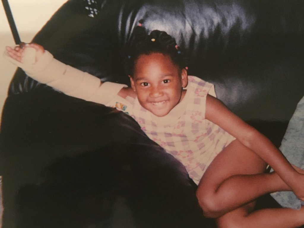 Paralympian Deja Young as a child.