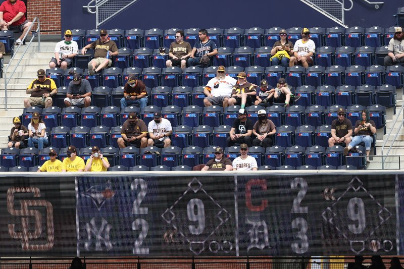 Sights of Petco Park: Masks and Padres Jerseys on Padres Opening Day