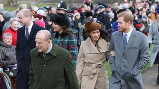 (L-R) Prince William, Duke of Cambridge, Prince Philip, Duke of Edinburgh, Catherine, Duchess of Cambridge, Meghan Markle and Prince Harry